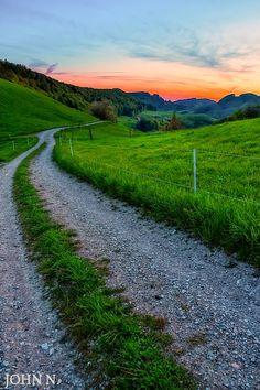 Country lane at sunset (Switzerland) by John N.