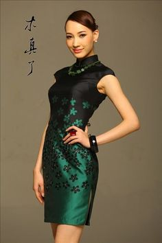 Art. Chinese Style Elegant Painting Cheongsam Dress Green | Chinese Unique Boutiques