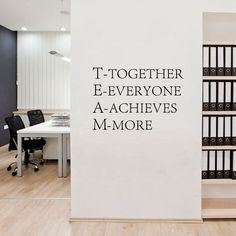 Cheap decal wall, Buy Quality decal sticker directly from China decorative furniture decals Suppliers: Team work Motivational Wall quotes Sticker,Inspirational words poster vinyl decal for Office decor Corporate Office Design, Office Interior Design, Office Interiors, Office Wall Design, Business Office Decor, Medical Office Decor, Interior Design Quotes, Design Offices, Sales Office