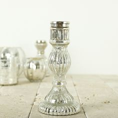 Glass Candlestick by Nkuku - Antique Silver - Large