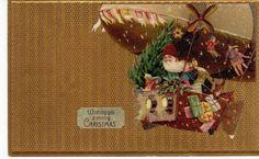 Postcard Santa Claus Christmas Flying Airship Blimp Gold Color Card Germany | eBay