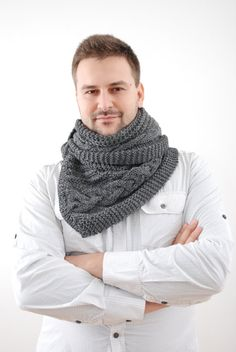 Winter Knitted Man Scarf. Dark Gray Extra Long Scarf. Men Scarf Made Of Deluxe Wool Blend. Hand Knitting Mens Scarves. on Etsy, $75.00