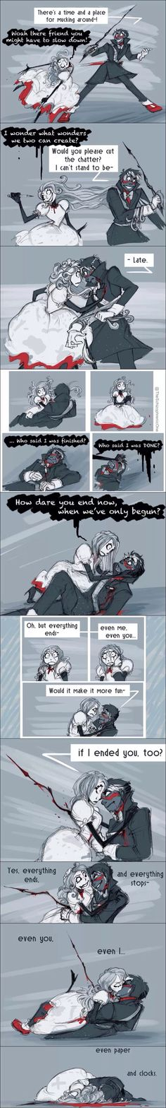 Im not sure if this is scary or romantic ..... Either way, Don't Hug Me I'm Scared fan art is amazing