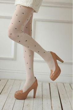 #Aprilwe  Candy Color Clover Jacquard Tights