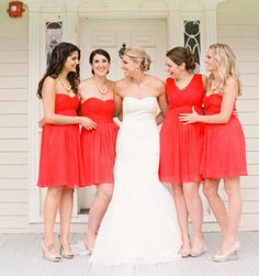 Red JCrew Bridesmaids Dresses