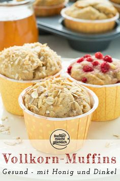 Great simple recipe for healthy muffins. These wholegrain muffins with honey are really delicious. The clean-eating muffins are super juicy and aromatic. You can also easily vary the whole-food muffin recipe. # whole grain muffins Clean Eating Muffins, Clean Eating Soup, Clean Eating Grocery List, Healthy Breakfast Muffins, Healthy Muffin Recipes, Clean Eating Recipes, Clean Eating Snacks, Gourmet Recipes, Low Carb Recipes