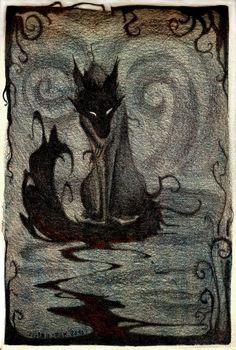 No hay un lobo malo. No hay dos lobos. Fantasy Kunst, Fantasy Art, Fantasy Creatures, Mythical Creatures, Fenrir Tattoo, Hellhound Tattoo, Fox Tattoo, Art Manga, Arte Obscura