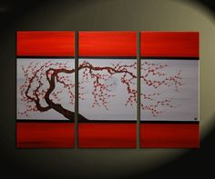 Red and Grey Original Tree Branch Art Plum Blossom Painting Chinese Zen Style Triptych Art on Three Canvases 45x30