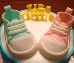 Fondant Baby Converse Gym Shoes.  Topper for a Gender Reveal cake.