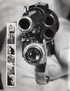 A Colt 38 revolver with a small camera that automatically takes a picture when the trigger is pulled. Manufactured in 1938