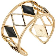 Rebecca Minkoff Diamond Cutout Cuff Bracelet (Gold/Black) Bracelet ($82) ❤ liked on Polyvore featuring jewelry, bracelets, accessories, gold, cuff bracelet, gold bangles, gold cuff bangle bracelet, diamond bangle and hinged cuff bracelet
