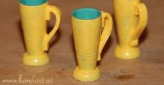 Kaffeebecher/Tassen/Häferl aus Nasenspray-Verschlusskappen für Barbie Puppen
