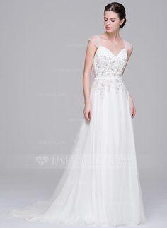 A-linjeformat Hjärtformad Sweep släp Tyll Bröllopsklänning med Pärlbrodering Applikationer Spetsar Paljetter (002071531) - JJsHouse