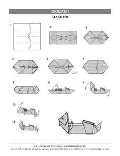 Sea Otter Origami Directions Lesson Plan for - Grade Origami Love, Origami Design, Origami Easy, Origami Animals, Paper Oragami, Paper Crafts Origami, Art Therapy Directives, Sea Otter, Otters