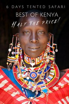 Picture of a Maasai women wearing a beaded necklace, Kenya