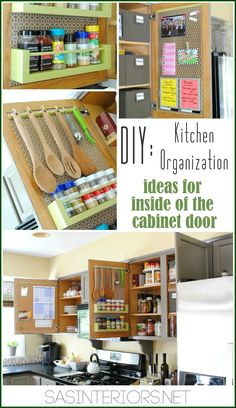 Kitchen Organization: Ideas for storage on the inside of the kitchen cabinets.