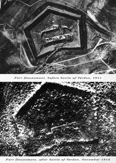 Aerial view of Fort Douaumont before and after the battle of Verdun, 1916.