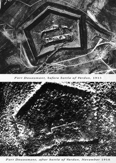 Vue aérienne du fort de Douaumont avant et après la bataille de Verdun 1916.