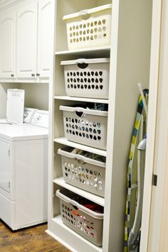 laundry room makeover How I Created Our Life-Changing Family Laundry System Laundry Room Layouts, Laundry Room Remodel, Small Laundry Rooms, Laundry Room Organization, Laundry Room Design, Basement Laundry, Laundry Closet, Laundry Room Shelving, Big Family Organization