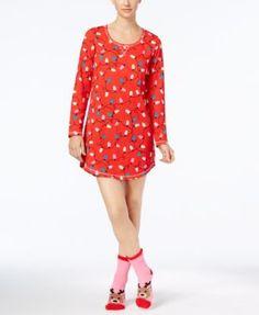 Jenni by Jennifer Moore Graphic Sleepshirt and Socks Set, Created for Macy's - Black XXL