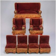 """Antique German Doll House Miniature 7 Piece Parlor Suite Late Victorian Small 1"""" Scale Dollhouse Furniture"""
