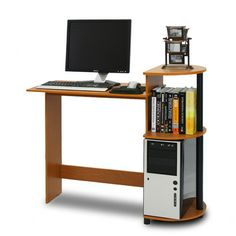 Furinno Compact Computer Desk. I like how compact it is, but I would like some drawers