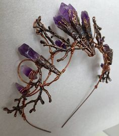 The ELVIRA Crown Witchy Woodland Gothic Amethyst Tiara   Etsy