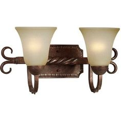 Two Light Vanity Light with Umber Mist Shade in Black Cherry by Forte Lighting. $84.59. 5112-02-27 Features: -Two light vanity light.-Umber mist glass shade. Color/Finish: -Black cherry finish. Specifications: -Accommodates (2) 100W medium bulb. Dimensions: -Overall dimensions: 8.5'' H x 17'' W x 8.5'' D.