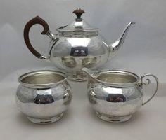 LIiberty & Co Solid Silver Antique 3 Piece Tea Service Set Lon 1907 (384-9-LGN)  | eBay