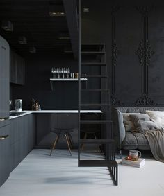24M2 almost mystical black apartment