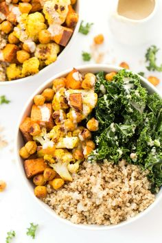 These healthy curry roasted vegetable quinoa bowls are the perfect meal! They're easy to make, packed with protein, filled veggies & tons of amazing spices!