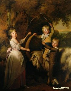 Three Children Of Richard Arkwright With A Goat Artwork by Joseph Wright of Derby Hand-painted and Art Prints on canvas for sale,you can custom the size and frame