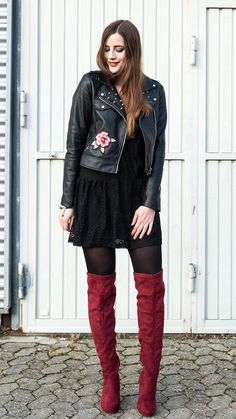 """Embroidered Leather Jacket and Red Overknees -  As first seen on blog """"AndySparkles"""" here: Embroidered Leather Jacket and Red Overknees  She is wearing tights similar here: Black 50 Denier Tights This 50 denier style features an extra-wide comfort waistband and innovative glued seams that lay flat against the skin.  #tights #pantyhose #hosiery #nylons #tightslover #pantyhoselover #nylonlover #legs"""