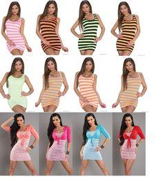 Streifen Minikleid,Longshirt,Kleid Neon Longtop TangTop Kleid+Bolero TrägerShirt