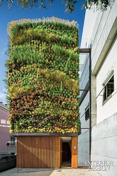 One 2,700 square-foot house distinguishes itself--and its Lisbon neighborhood--with 1,100 square feet of vertical garden, providing a drab culdesac with a new kind of park. A private residence is also a public amenity. By ADN Garden Design, RA Architectural & Design Studio, & Subvert. #design #interiordesign #interiordesignmagazine #architecture #sustainability #green
