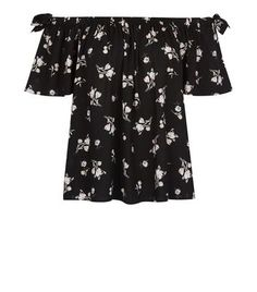 """Feel feminine in this black ditsy floral bardot top with tie sleeve detail. Complete the look with a white mini skirt and lace up heels.- All over ditsy floral print- Bardot neclkine- Tie sleeve detail- 1/2 sleeves- Casual fit that is true to size- Model is 5'8""""/176cm and wears UK 10/EU 38/US 6"""