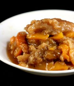 Caramel Peach Cobbler.  The best cobbler you will ever have. Use apples, plums or pears if you don't like peaches.