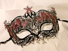Black and Red Metallic Masquerade Mask by TheCraftyChemist07, $65.00