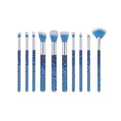 Pro 10Pcs Eye Shadow Eyebrow Eyeliner Eyelash Lip Brush Makeup Brushes Cosmetic Tool roll water drops blue Brush Sets makeup  #Affiliate