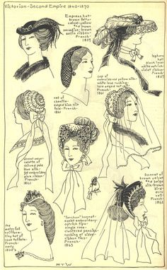 Early 1860's ladies hats
