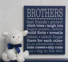 BROTHERS Navy and Gray Sign. Sibling Wall Art Kids by NelsonsGifts