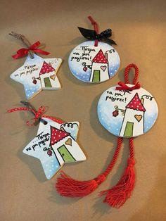 Χριστούγεννα Greek Christmas, Christmas Clay, Christmas Ornaments To Make, Christmas Fabric, All Things Christmas, Christmas Time, Christmas Decorations, Santa Crafts, New Year's Crafts