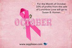 Help find a cure! www.sayplease.com #breastcancerawareness. #lunchbox_love #love