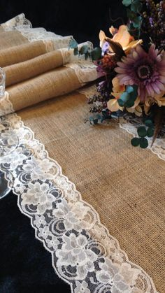 "Burlap Table Runner - IVORY Lace Wedding Table Runner - 14"" Width; Lace on Edges - Country Home Decor, Farmhouse Decor, Rustic Wedding #ad #DIYRusticWeddingtable"