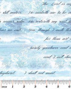 Benartex Bible Study II by Kanvas 4886 55 Blue Lords Psalm $9.80/yd
