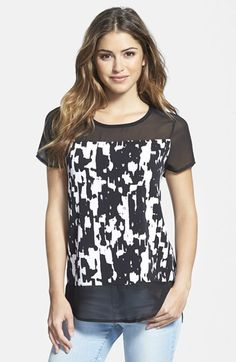 Vince Camuto 'Graphic Moods' Mixed Media Top available at #Nordstrom