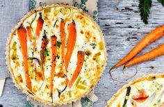 Recept på morots- och fetaostpaj. En vegetarisk rätt som också platsar på buffébordet.