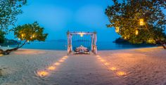 Romantic Private Beachfront Cabana Dining, If you're looking for a romantic seaside restaurant. Seafood and private dinner by the beach at phuket's most romantic dinner. Best Honeymoon Destinations, Amazing Destinations, Phuket Honeymoon, Romantic Beach, Most Romantic, Family Beach Pictures, Beach Photos, Thavorn Beach Village, Famous Places In France