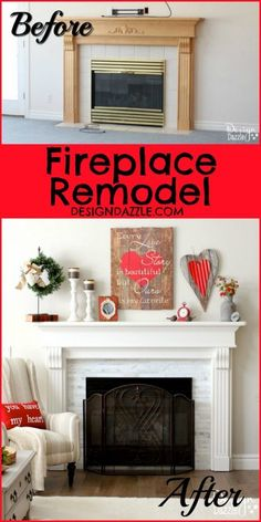 Before and After of my Fireplace Remodel! Find out how to get this gorgeous look in your home!! Love me some DIY updating!