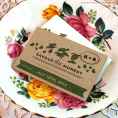 Put a modern & eco-friendly twist on a vintage wedding favor by giving guests these Herb Seed Paper Matchbooks. Each stick can be planted to grow a savoury garden of basil, parsley and oregano!